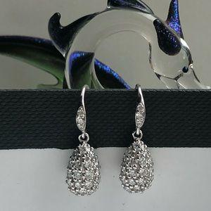 Jewelry - 14K White Gold Lab grown Diam Tear drop Earrings